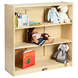 ECR4Kids 36 in H Birch Bookcase with Adjustable Shelves, GREENGUARD Gold Certified Wooden Book Display for Kids, 3 Shelves, Natural Book Shelf Organizer for Homeschool and Classrooms, Beige (ELR-17100)