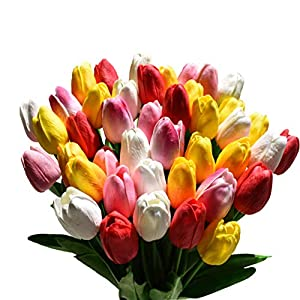 USCNC 38pcs Multicolor Tulips Artificial Flowers Faux Tulip Stems Real Feel PU Tulips for Easter Spring Wreath Wedding Bouquet Centerpiece Floral Arrangement Cemetery Table Décor 14″ Tall