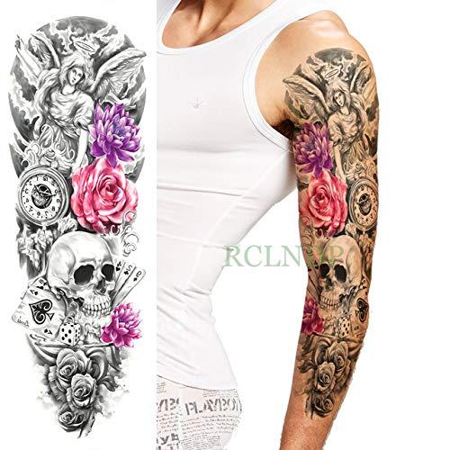 ljmljm 3 Piezas Pegatinas de Tatuaje a Prueba de Agua Cabeza de cráneo Brazo Completo Cuerpo Arte Tatuajes Tatuaje Espalda Tatuaje para Hombres Mujeres Grupo Azul Oscuro 48x17 cm