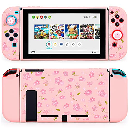 Tscope Protective Case for Nintendo Switch, Cute Soft TPU Slim Case Cover for NS Console and Joy-Con Controllers, with Tempered Glass Screen and 2 Thumb Grips Caps (Sakura Pink)