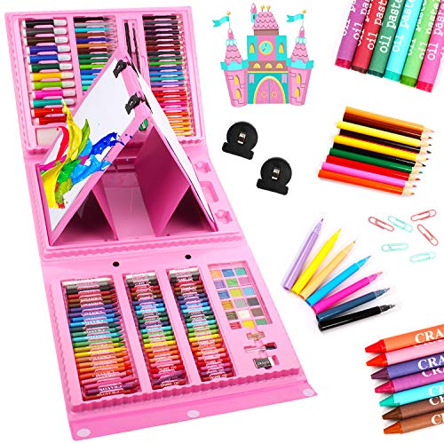 UMARDOO 208 Pieces Art Set with Double Side, Trifold Drawing Set with Oil Pastels, Crayons, Colored Pencils, Markers, Paint Brush, Watercolor Cakes, Sketch Pad (Pink)