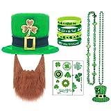 San Patrizio Cappello Kit - St. Patrick Day Cappello da folletto con barba & Trifoglio Collana & Braccialetto & Tatuaggi Accessori per costumi Impostato per uomini donne da parata Verde Dress Up