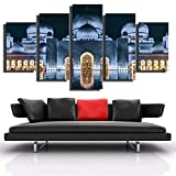 VYQDTNR Decoración del Hogar Lienzo Pintura 5 Piezas HD Imprimir Plano Arte De La Pared Mezquita Modular Imagen Sala De Estar Obra De Arte Cartel- Talla Grande 200X100CM.