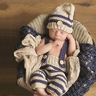 Apparel Accessories Children Photography Clothing Hand-Knitted Horizontal Striped Wool Cap + Horizontal Stripe Bib Pants Set Apparel Accessories