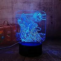 3 D錯視ランプledナイトライト新しいフルムーンナイトハウルオオカミ3d ledアクリルナイトライトusbタッチコントロールホームキッズデスクランプキッド,Multicolored
