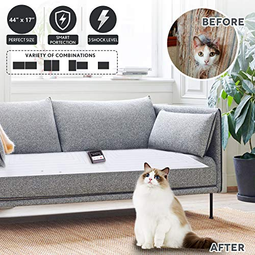 Upgraded Pet Scat Cat Mat,44''x17''Pet Training Shock Mat for Dogs Cats Indoor Outdoor,Keep Dog Off Furniture Sofa Couch,2Pcs Adjustable Shape,Smart Safe Protection System,Anti Shedding Metal Wires