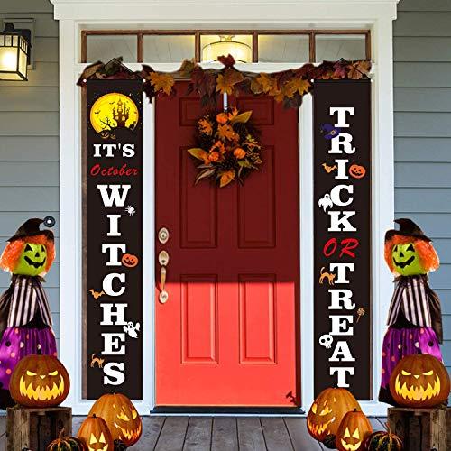 Halloween-Veranda-Schild Dekorationen – Trick or Treat & It's Oktober Hexen Halloween Willkommensschilder – Halloween Hängende Banner für Haustür oder Innenparty Heimdekoration