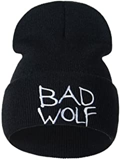 Hatop Hat, Unisex Bad Wolf Embroidery Warm Wool Knitted Earmuffs Hats Caps