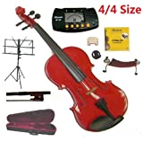 Merano 4/4 Full Size Red Student Violin with Case and Bow+Extra Set of Strings, Extra Bridge, Shoulder Rest, Rosin, Metro Tuner, Black Music Stand, Rubber Mute