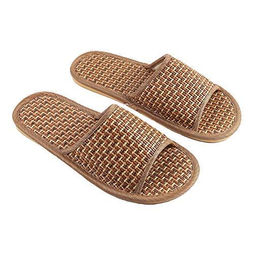 Bambus-Rebe Slide Sandals Natürliche Leinen Gewebt Unisex Sommer Open Toe Pantoffeln Geeignet Für Die Dusche Zu Hause (Farbe : Brown, größe : 37/38)