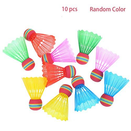 HELEVIA 10 Stück Bunte Badminton Federbälle, Kunststoff Badminton Federbälle mit Regenbogen Kopf, Hochgeschwindigkeits Badmintonbälle für Drinnen/Draußen, Geeignet für Kinder und Erwachsene