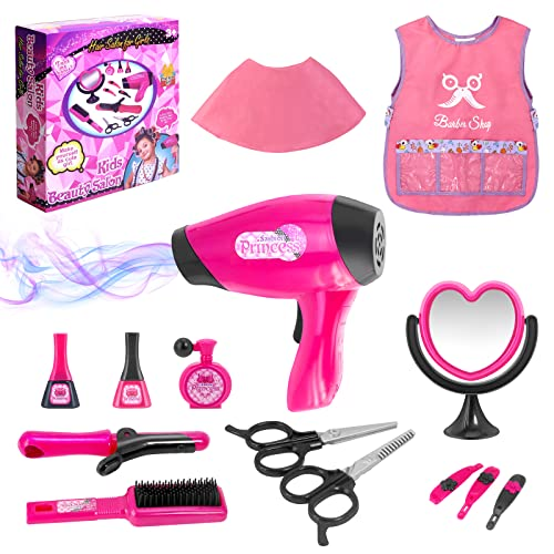 Girls Beauty Salon Set Pretend Play Hair Stylist Toy Kit with Barber Apron, Hair Dryer, Curling Iron, Mirror, Scissors and Styling Accessories