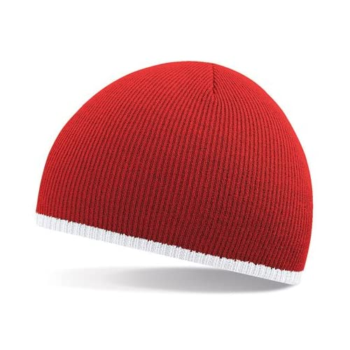 ecfcb33fde8 Beechfield 2 tone beanie knitted hat in Red   white