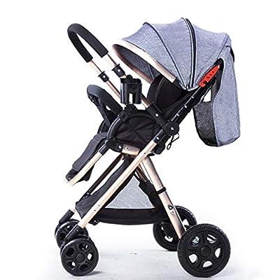 YXCKG Sistema de Viaje para Cochecito, Baby Baby Strollers Transformación inversa o hacia adelante Silla de Paseo antichoque con Dosel Ajustable, Marco Dorado (Color : Gray)