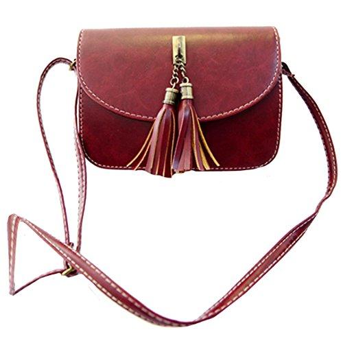 Milya Retro-Taschen Damen Handtasche Portemonnaie PU Leder Satchel Small Umhängetasche Mode-Design mit Quasten Sechs Farben sechs Arten von Auswahl Rotwein