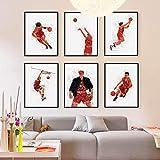 日本のアニメスラムダンクバスケットボールポスタープリントモダンキッズルームウォールアート画像ホームデコキャンバス絵画30X40cm12x16インチ* 6pcsフレームなし