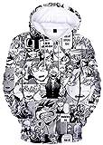 YIMIAO Hombre Niños Sudaderas con Capucha Chicos Jóvenes My Hero Academia Japonesa Anime Impresión 3D Anime Uniforme Mujer Niña Pullover(M)