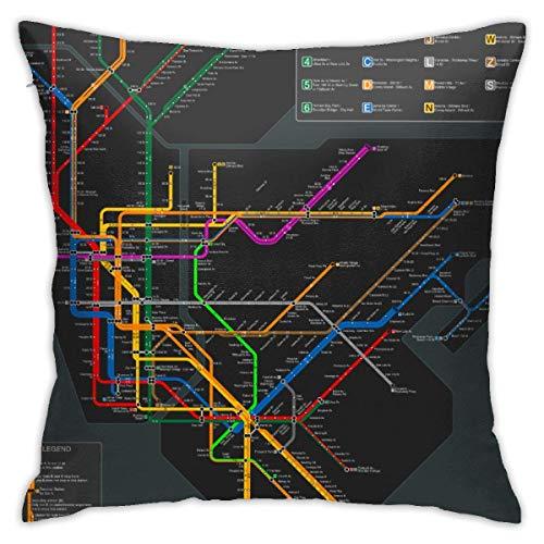 Xinli Shop New York Subway Map Federe Fodere per Cuscini per Auto morbide Fodere per Cuscini Decorazione del Divano
