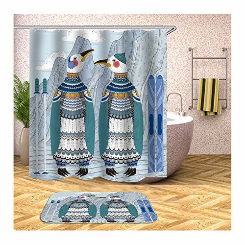 Aienid Duschvorhang Orange 2 Süße Pinguine Bunt Badevorhang