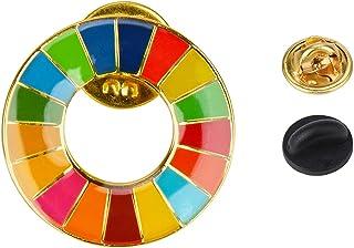 SDGs バッジ ゴールド 国連本部最新仕様 ピンバッジ 襟章 漆塗り+ジェリ工芸 最新仕様 留め具4個付き 男女兼用