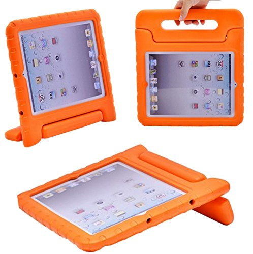 I Spongy Ipad case for Apple Ipad Kids Friendly with Convertible Handle Stand Light Weight (Ipad Pro 12.9, Orange)