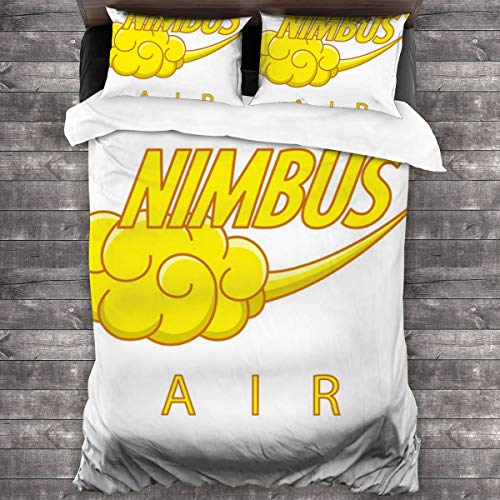 KUKHKU Nimbus Air Dragon Ball Z 3 Pieces Bedding Set Duvet Cover 86x70 inch, Decorative 3 Piece Bedding Set With 2 Pillow Shams