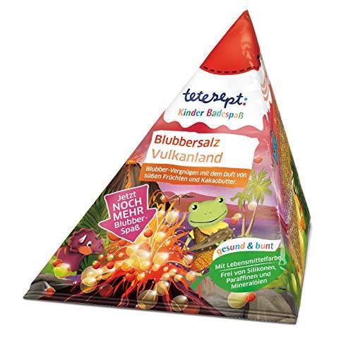 tetesept Blubbersalz Vulkanland - Kinder Badespaß mit dem Duft von süßen Früchten und extra viel Blubberspaß - 1 x 50g