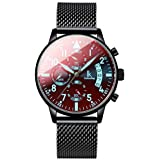 jialuo Men's Watch Calender Date Chronogaph Analog Wrist Watches Waterproof Quartz Wristwatch with Mesh Strap (Colorful Black)
