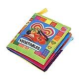 Akaddy Soft Cloth Book Baby Kids Libro de Dibujos Animados educativos tempranos Juguetes (Vegetales)