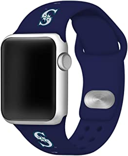 GAME TIME Seattle Mariners Silicone Sport Band Compatible with Apple Watch 42mm/44mm Navy Blue