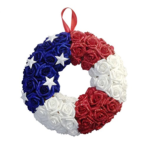 14'' American Flag Wreath, 4th of July Patriotic Rose Wreath Home Door Decor (Red White Blue)