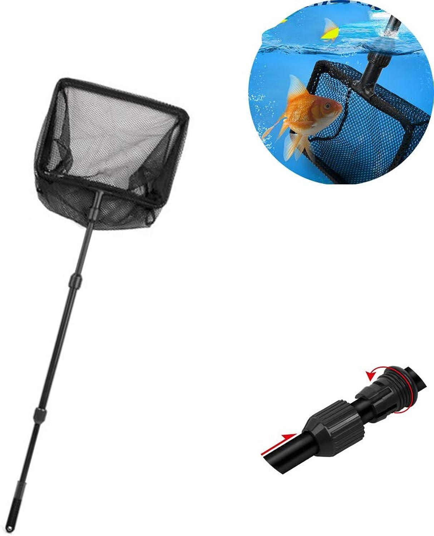 Aquarium Fishing Net, Telescopic Rod MultiFunction Folding Fishing Retractable 6590cm Long Handle Aquarium Supplies