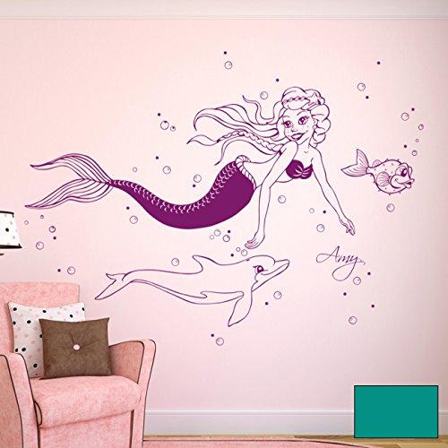 Wandtattoo Wandaufkleber Meerjungfrau Nixe Delfin mit Namen M1610 - ausgewählte Farbe: *Türkis* - ausgewählte Größe: *L - 100cm breit x 60cm hoch*