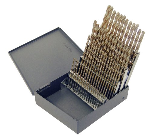 Chicago Latrobe 69854 559 Series Cobalt Steel Short Length Drill Bit Set In Metal Case, Gold Oxide Finish, 135 Degree Split Point, Wire Size, 60-piece, #60 - #1