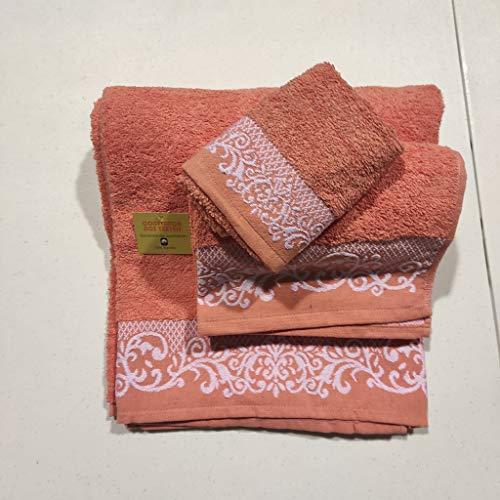 Toallas de baño en Salmón , Set 3 Piezas Cenefa 100% algodón Portugués , Gran absorción, 500 g.