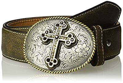 Nocona Belt Co. Women's Nocona Brown Crackle Cross Buckle Belt, Medium