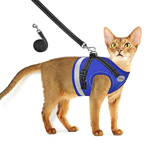 Cat Harness and Leash for Walking, Escape Proof Soft and Breathable Adjustable Vest Harness for Cats, Lightweight Easy to Control Small Dog Kitten Harness, Comfortable Outdoor Jacket (L, Blue)