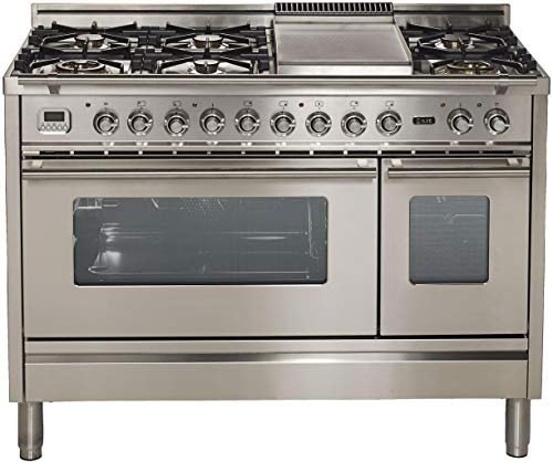 Ilve UPW120FDMPI Pro Series 48 Inch Dual Fuel Convection Freestanding Range, 7 Sealed Brass Burners, Double Ovens, 4.99 cu.ft. Capacity in Stainless Steel (Natural Gas)