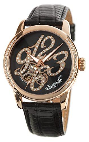 Ingersoll Damen Analog Automatik Uhr mit Leder Armband IN4901RBR_Black