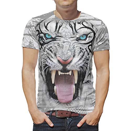 Blanco Tigre cara hombres camisetas manga corta cuello redondo poliéster camiseta casual gráficos moda camisetas
