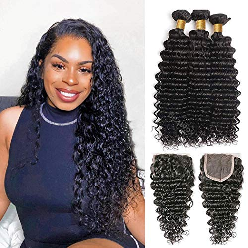 Brazilian Deep Wave Bundles with Closure 4x4 Free Part Deep Curly Bundles with Swiss Lace Closure(20 22 24+18) 100% Unprocessed Remy Human Hair Wet and Wavy Natural Black Hair Extensions