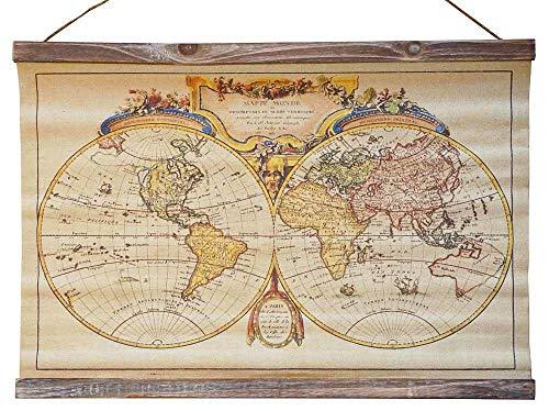 Nostalgie Wandbild Alte Weltkarte Vintage Atlas Schulwandkarte Leinwand 60x43cm