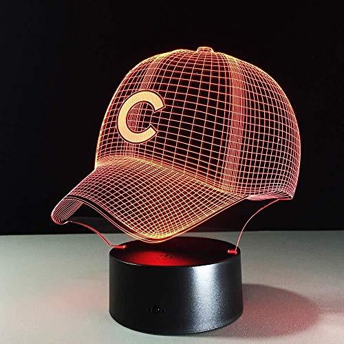 Nachtlicht 3D Schlaflampe 3D Hip Hop Beball Team Cap LED 3D Illusion Nachtlicht 7 Farben USB5V oder Batterie American Beball Hut Hologramm Visuelle Lampe