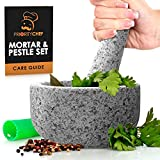 PriorityChef Mortar and Pestle Set, Unpolished Natural Granite, Large 2 Cup Capacity Guacamole Bowl, Silicone Garlic Peeler Included