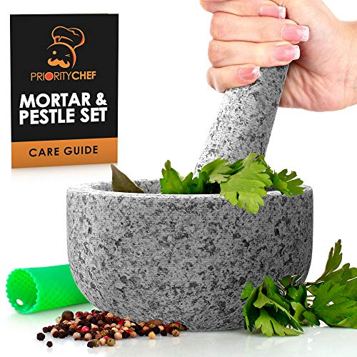 PriorityChef Mortar and Pestle Set Unpolished Natural Granite Large 2 Cup Capacity Guacamole Bowl Silicone Garlic Peeler Included