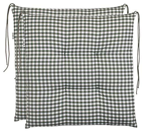 Cojín para silla de cuadros Brandsseller, acolchado para asiento de jardín,40x 40cm, colorantracita, gris claro, marrón o beige, algodón mezcla, verde, 2er-Paket