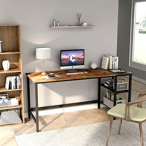 CubiCubi Home Office Computer Desk, 55 Inch Study Writing Table with Storage Shelves
