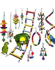 JannahMehr Bird Toys,10Pcs Pet Bird Parrot Bell Rattan Ball Cotton Rope Stair Hanging Cage Chew Toy for Parrots, Parakeets, Macaws, Cockatiels, Lovely Birds - Random Color