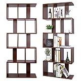 amzdeal Bookshelf 5 Tier S Shaped Bookcase, Geometric Wooden...