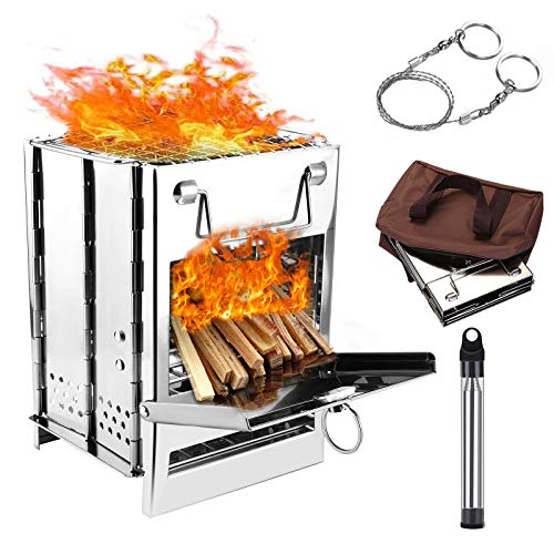 WADEO Wood Burning Camp Stove, Stainless Steel Folding Camp Stove, Portable Backpacking Wood Stove with Pocket Fire Bellow, Carry Bag and Stainless SteelSaw for Outdoor Cooking, Picnic and BBQ